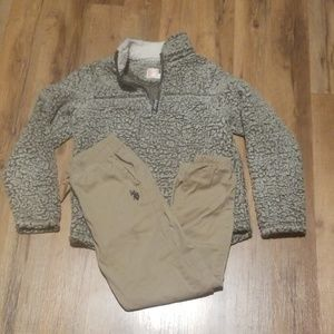Size 8 boys fleece and Polo Joggers